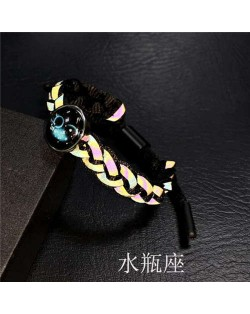 Constellation Pop Fashion Weaving Rope Luminous Bracelet - Aquarius