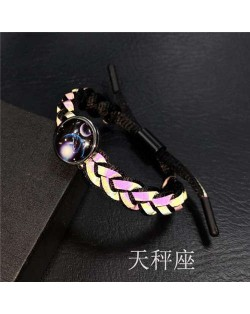 Constellation Pop Fashion Weaving Rope Luminous Bracelet - Libra