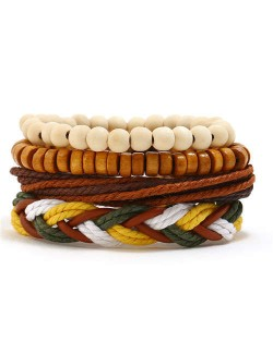 Vintage Style Beads and Weaving Rope Fashion Bracelets Combo Set