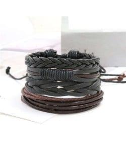 Multi-layer Weaving Style Black Leather Bracelets Combo Set