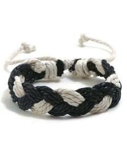 Cute Rope Weaving Design Women Friendship Bracelet - Black