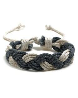 Cute Rope Weaving Design Women Friendship Bracelet - Gray