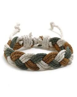 Cute Rope Weaving Design Women Friendship Bracelet - Brown