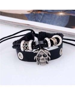 Skull Decorated Punk Fashion Dual Layers Leather Bracelet - Black