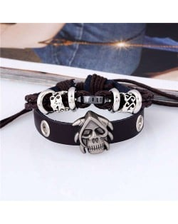 Skull Decorated Punk Fashion Dual Layers Leather Bracelet - Brown