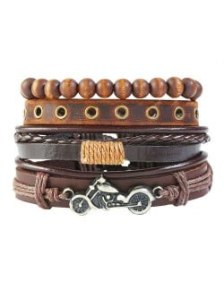 Alloy Motorbike Decorated Multi-layer Beads and Leather Fashion Bracelet