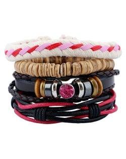 Gem Embellished Multi-layer Rope Weaving and Leather Fashion Bracelet