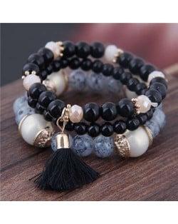 Triple Layers Acrylic Beads Women Fashion Bracelet - Black