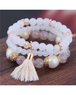Triple Layers Acrylic Beads Women Fashion Bracelet - White