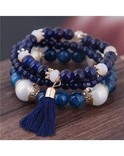 Triple Layers Acrylic Beads Women Fashion Bracelet - Royal Blue