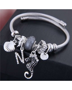 Alloy Seahorse and Seashell Decorated High Fashion Women Bangle - Gray