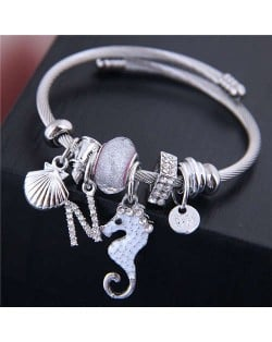 Alloy Seahorse and Seashell Decorated High Fashion Women Bangle - White