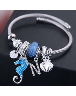 Alloy Seahorse and Seashell Decorated High Fashion Women Bangle - Blue