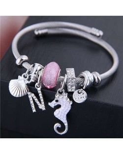 Alloy Seahorse and Seashell Decorated High Fashion Women Bangle - Pink