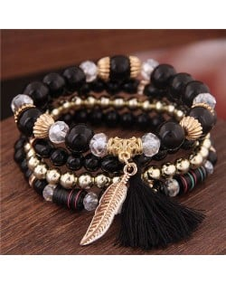 Alloy Feather Pendant Multi-layer High Fashion Women Beads Bracelet - Black