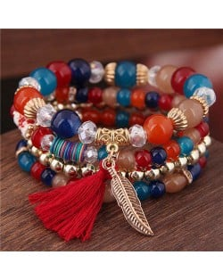 Alloy Feather Pendant Multi-layer High Fashion Women Beads Bracelet - Multicolor