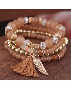 Alloy Feather Pendant Multi-layer High Fashion Women Beads Bracelet - Brown
