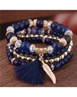 Alloy Feather Pendant Multi-layer High Fashion Women Beads Bracelet - Royal Blue