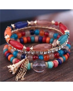 Tower Pendant Decorated Multi-layer Acrylic Beads Women Fashion Bracelet - Multicolor