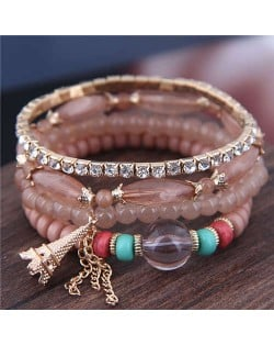 Tower Pendant Decorated Multi-layer Acrylic Beads Women Fashion Bracelet - Brown