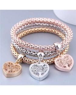 Triple Hearts Pendants Studs Alloy Women Fashion Bracelets Combo