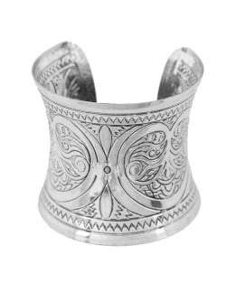Vintage Folk Image Engraving Design Wide Fashion Open Style Alloy Women Bangle - Silver