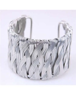 Weaving Pattern Super Wide Design Open Style Alloy Women Bangle - Silver