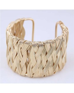 Weaving Pattern Super Wide Design Open Style Alloy Women Bangle - Golden