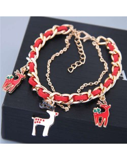 Elegant Deer Pendants Alloy Chain and Leather Mix Style Women Bracelet