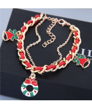 Christmas Flower Hoop and Bell Pendants Leather and Alloy Mix Chain Fashion Bracelet