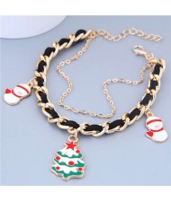 Christmas Tree and Snowman Pendants Alloy and Leather Mix Chain Fashion Bracelet