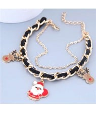 Santa Clause and Deer Design Alloy and Leather Mix Chain Christmas Fashion Bracelet