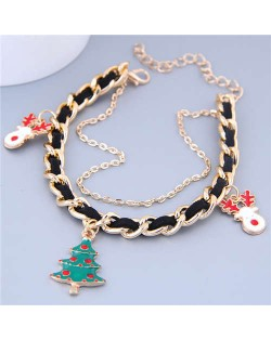 Christmas Tree and Deer Pendants Alloy and Leather Mix Chain Fashion Bracelet
