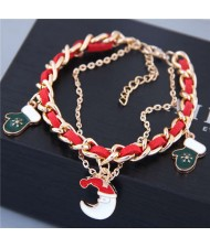 Moon and Gloves Pendants Alloy and Leather Mix Chain Fashion Bracelet