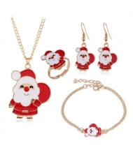 Santa Clause Christmas Fashion 4 pcs Costume Jewelry Set