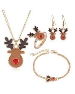 Cute Elk Christmas Fashion 4 pcs Costume Jewelry Set