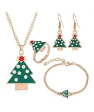 Christmas Tree Design 4 pcs Costume Jewelry Set