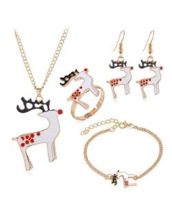 Christmas High Fashion Deers Design 4 pcs Costume Jewelry Set