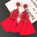 Resin Gems Floral Design High Fashion Women Cotton Threads Tassel Earrings - Red