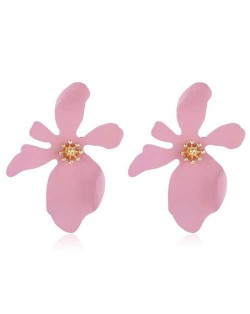 High Fashion Flower Design Women Statement Costume Earrings - Pink