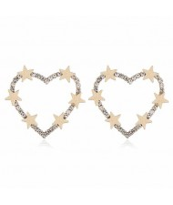 Stars Decorated Hollow Heart High Fashion Women Statement Earrings