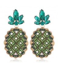 Rhinestone Embellished Pineapple Design Korean Fashion Women Earrings - Green