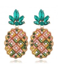 Rhinestone Embellished Pineapple Design Korean Fashion Women Earrings - Multicolor