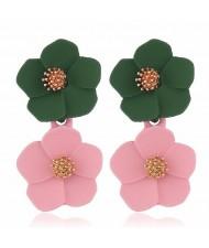 Romantic Dual Flower Cluster Women Tassel Earrings - Green and Pink