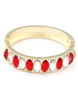 Oval Shaped Rhinestones Inlaid Golden Banlge - Red