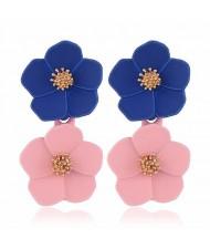 Romantic Dual Flower Cluster Women Tassel Earrings - Blue and Pink