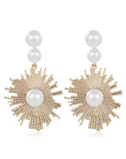 Pearl Inlaid Abstract Fashion Sun Flower Inspired Women Tassel Earrings