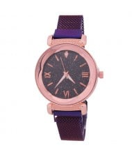 Roman Numeral Starry Design Index High Fashion Women Wrist Watch - Purple