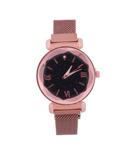 Roman Numeral Starry Design Index High Fashion Women Wrist Watch - Rose Gold