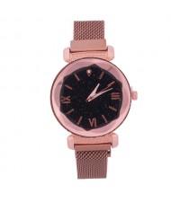 Roman Numeral Starry Design Index High Fashion Women Wrist Watch - Rose Gold